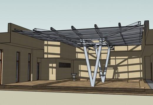 Покрита метална конструкция за вътрешен двор