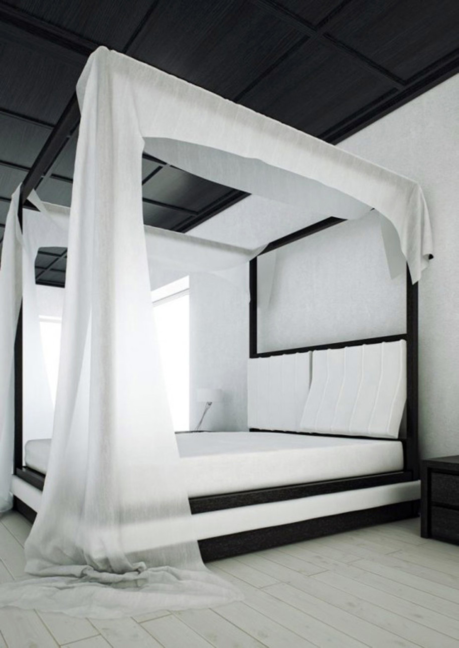 awesome-white-black-color-canopy-bed-design-ideas-white-wall-white-laminated-wooden-floor-black-laminated-wooden-ceiling-black-varnished-wooden-cabinet-black-varnished-wooden-bed-with-black-varnished