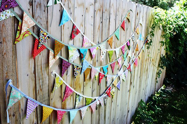 bunting on fence