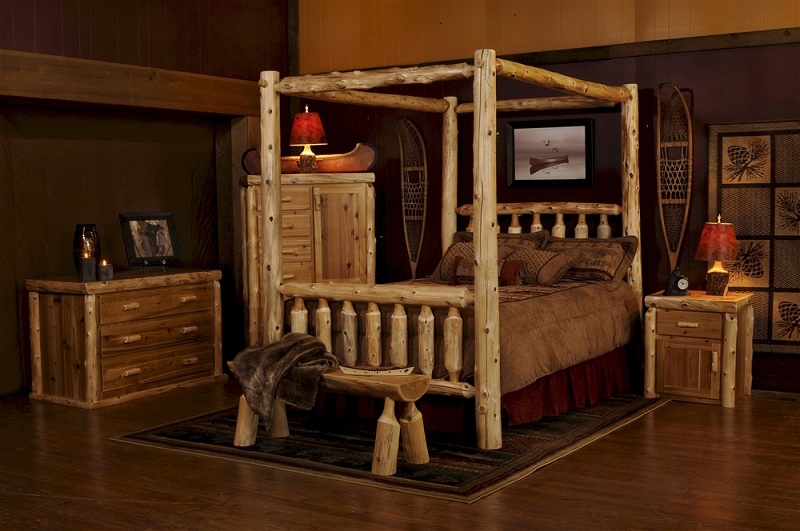 funky-log-bedroom-set-present-canopy-bed-design-feat-dark-area-rug-idea-plus-quirky-table-lamps