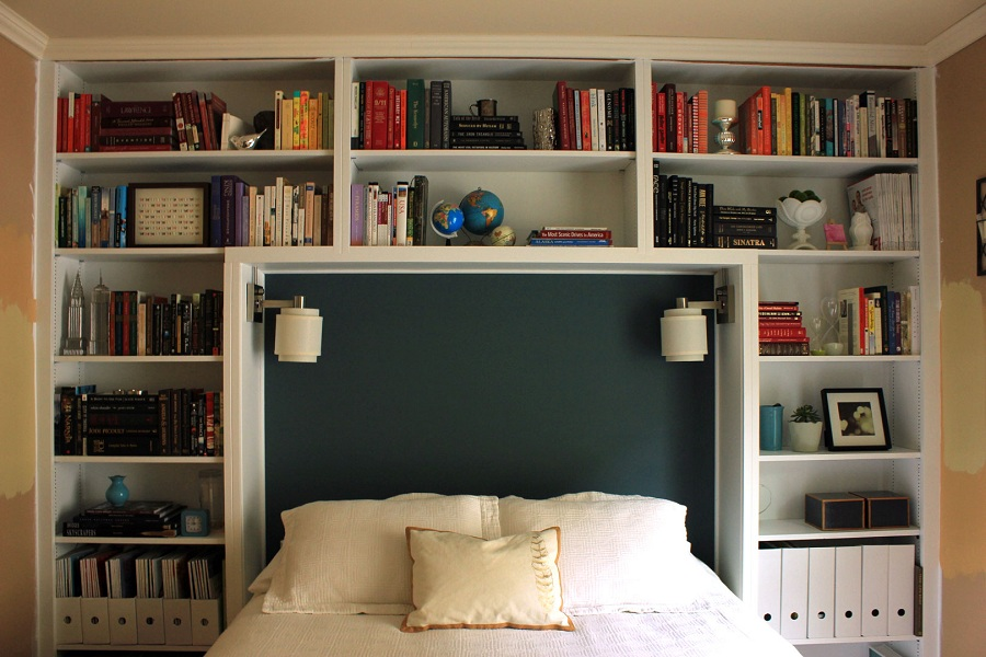 furnitures-bedroom-multiple-shelves-high-headboard-with-creative-mounted-reading-lamp-for-teen-bedroom-decor-ideas-excellent-and-inspiring-shelves-or-bookcase-headboard-designs