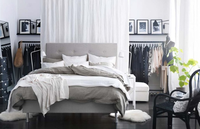 ikea-bedroom-idea-filled-cool-open-wardrobe-closet-and-black-laminate-floor-plus-contemporary-platform-bed-design