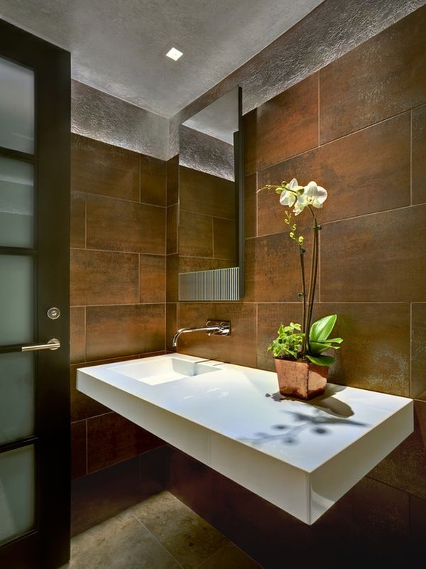 metalic-bathroom-touch-orchids-plant