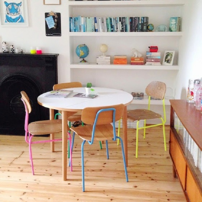 round table and coloured chair legs