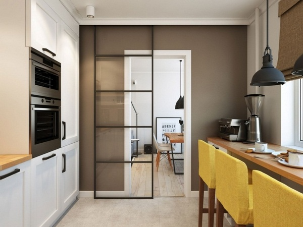 sliding-door-kitchen-living-room-glass-modern-small-apartment-stool-yellow-pad