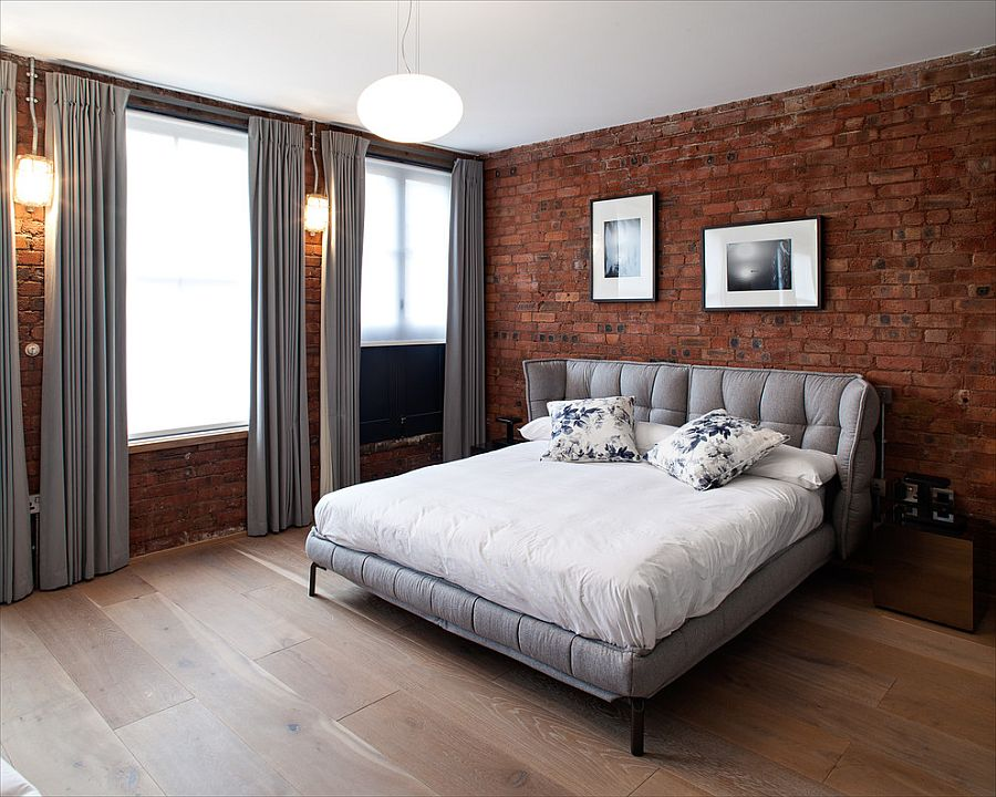 Gray-brings-contemporary-elegance-to-the-bedroom-with-exposed-brick-walls