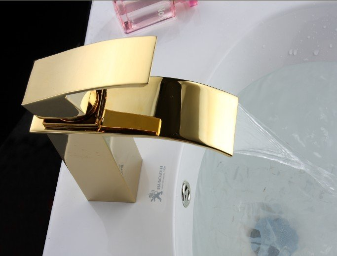 Hot-single-handle-lever-gold-waterfall-bathroom-sink-basin-faucet-mixer-tap