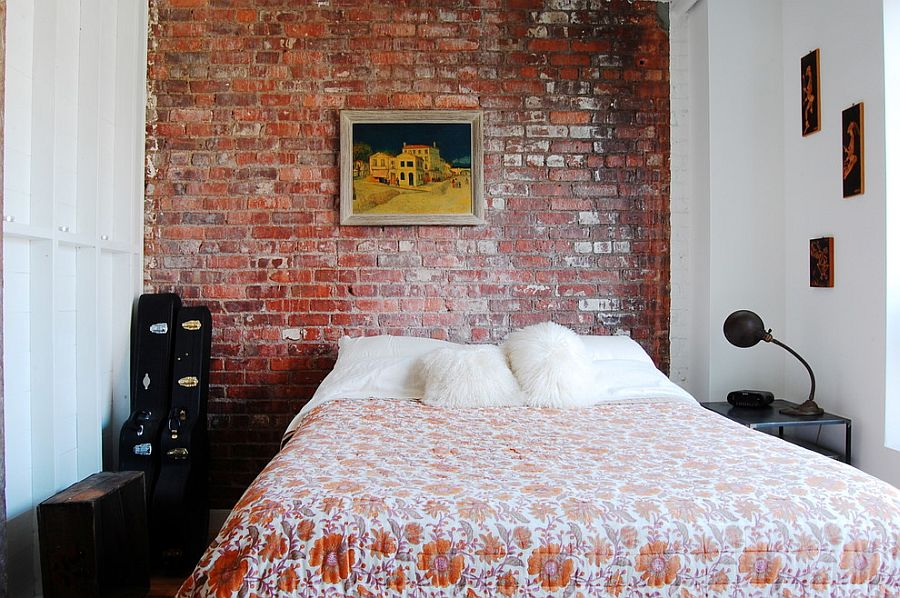 Small-industrial-bedroom-with-exposed-brick-wall