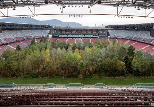 Засадиха гора от дървета във футболен стадион