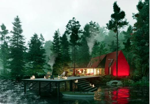 Минималистична къща с червена геометрия