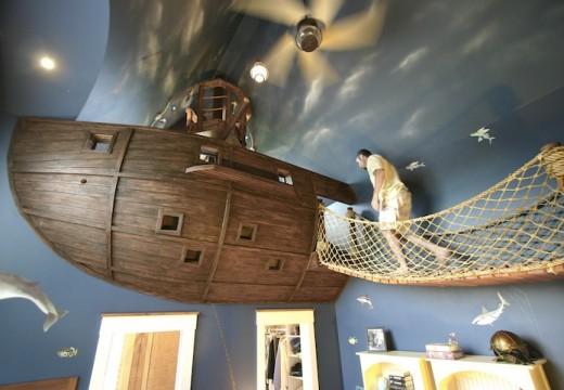 Пиратски кораб в детска стая