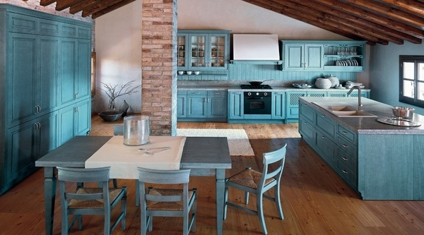 Mediterranean-kitchen-ideas-blue-kitchen-cabinets-glass-frongs-wood-dining-furniture