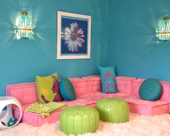 use-blue-paint-wall-wall-lights-pink-fabric-sofa-and-soft-fur-rug-for-teenage-girl-room-furniture-in-modern-design